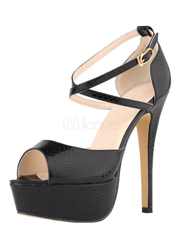 Buy High Heel Sandals Black Peep Toe Platform Snake Pattern Criss Cross Sandal Shoes for $42.74 in Milanoo store