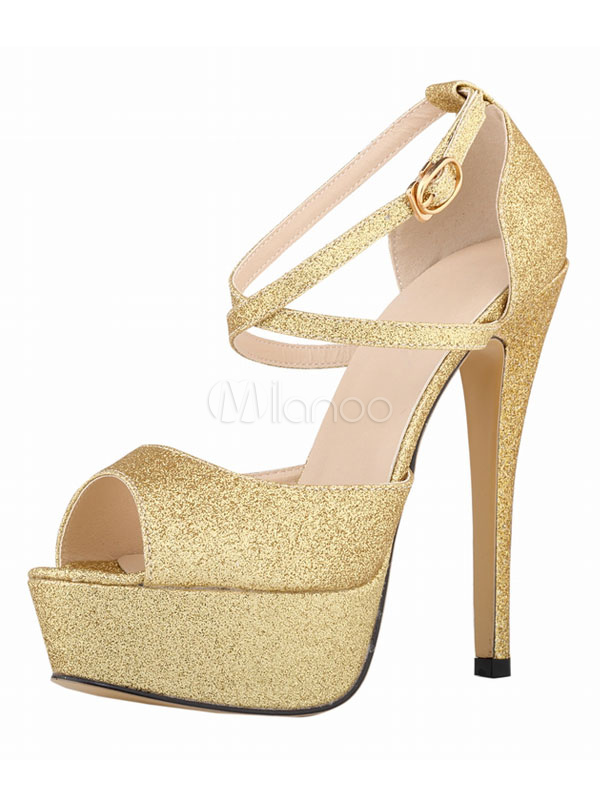fibbia Toe donne le scarpe Nero Peep Sandalo incrociato Platform sandalo Paillettes Tacchi per con 8AwZOqpU