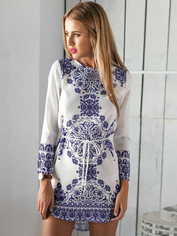 White Shift Dress Floral Printed Jewel Neck Long Sleeve Short Dress For Women Cheap clothes, free shipping worldwide