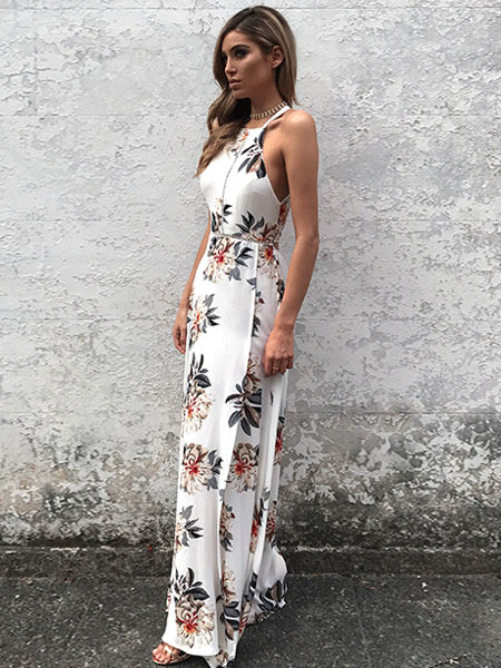 528836aae2e2 ... White Maxi Dress Halter Sleeveless Backless Floral Printed Slit Long  Summer Dress For Women-No
