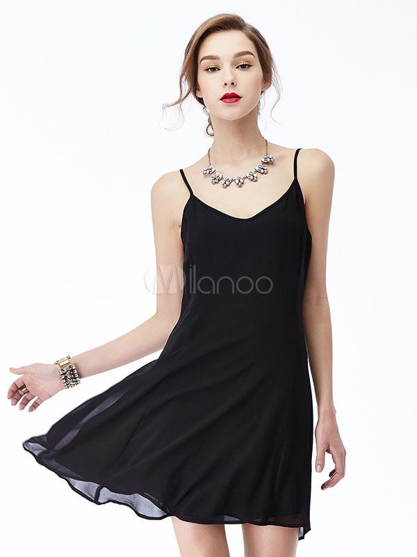 Buy Chiffon Black Dress Short Summer Adjustable Straps Women's Slip Dress for $23.74 in Milanoo store