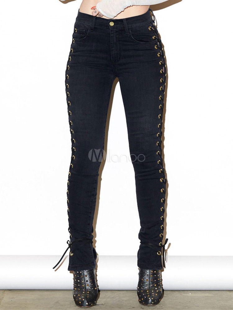 Women's Skinny Pants Black High Waist Grommets Lace Up Chic Tight Trousers Cheap clothes, free shipping worldwide