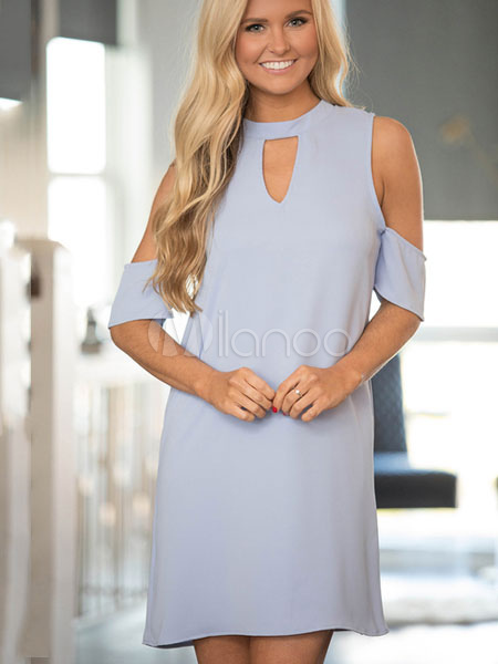 Buy Blue Shift Dress Linen Round Neck Short Sleeve Cold Shoulder Cut Out Mini Dress for $26.99 in Milanoo store