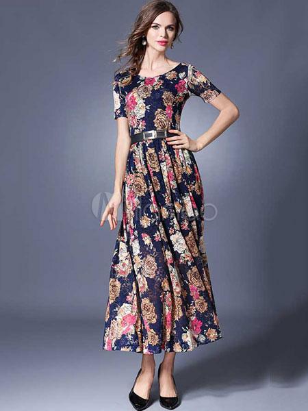 32382c3292fce Cotton Skater Dress Women's Blue Round Neck Short Sleeve Floral Printed  Pleated Flare Dress( Belt ...