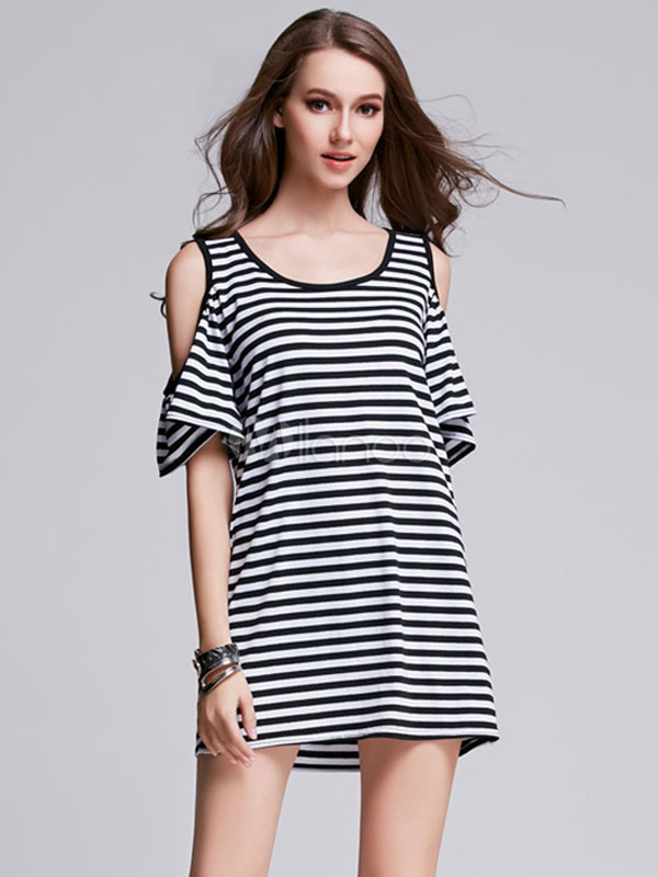 Buy Black T Shirt Dress Jewel Neck Short Sleeve Cold Shoulder Striped Shift Dress for $24.99 in Milanoo store