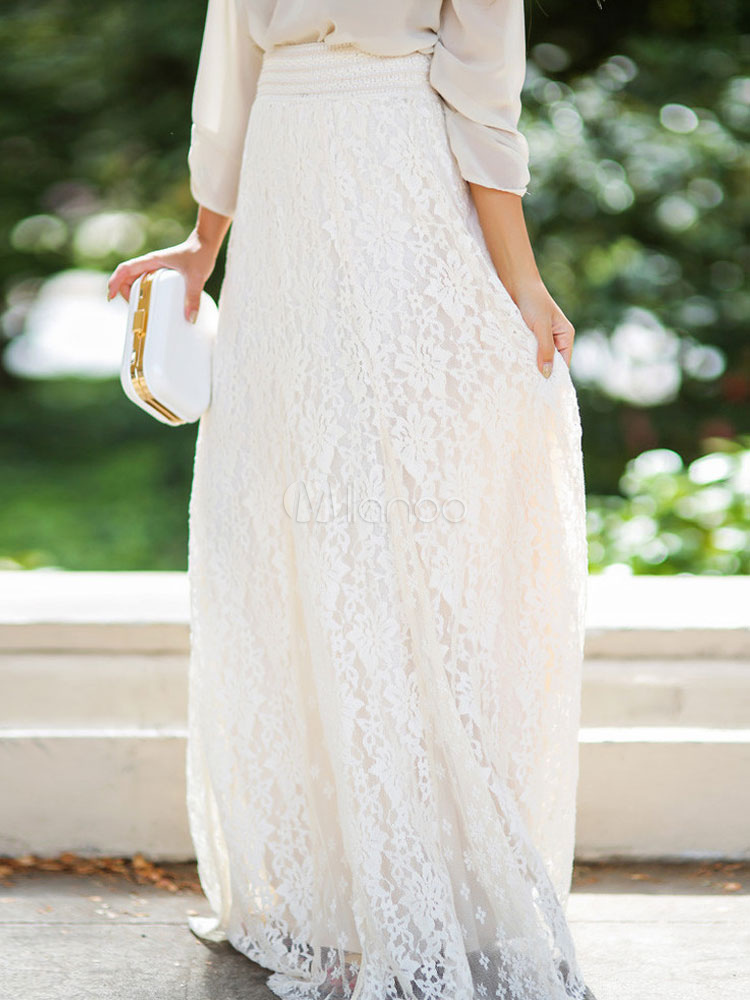 Lace Maxi Skirt Women's White Elastic Waist Layered Pleated A Line Long Skirt