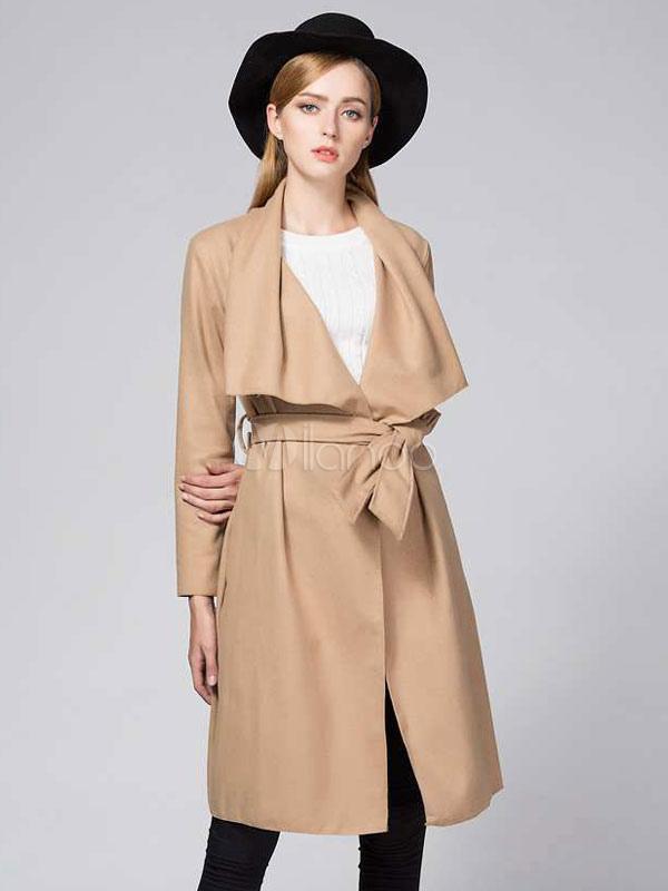 save off d359e fd09f Cappotto donna lungo con collo rovesciato cintura maniche lunghe cappotto  invernale