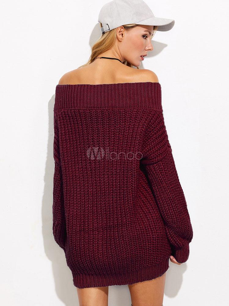 d1c419a1ba0b ... Sexy Sweater Dress Burgundy Off The Shoulder Long Sleeve Knit Short  Dress-No.2 ...