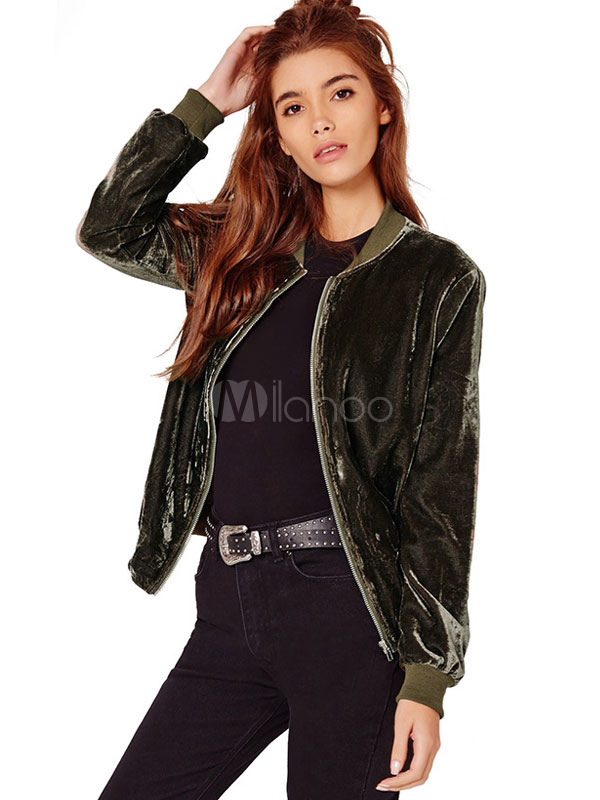 Velour Bomber Jacket Cotton Filling Stand Collar Long Sleeve Zipper Up Stylish Outerwear For Women