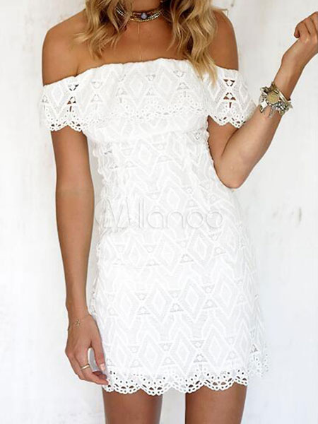 White Lace Dress Off The Shoulder Short Sleeve Slim Fit Bodycon Dress Cheap clothes, free shipping worldwide