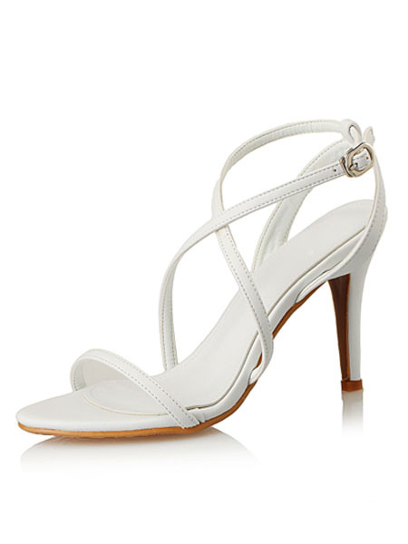 High Heel Sandals Women's White Open Toe Strappy Sandal Shoes