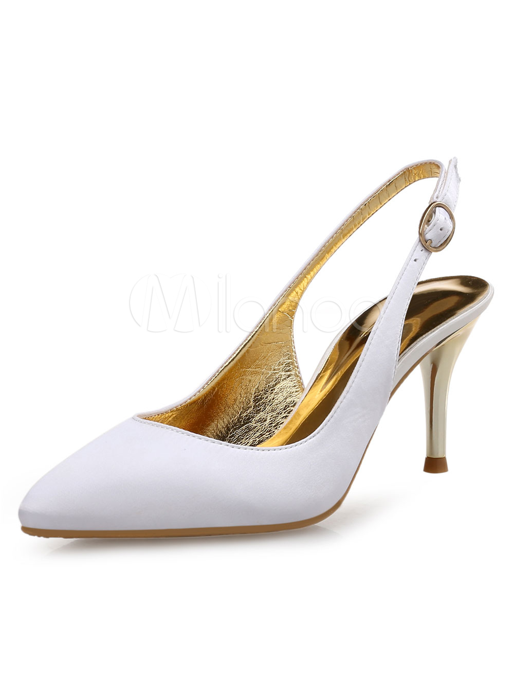 Buy Pointed Toe Pumps Satin Women's Slingback Stiletto High Heel Shoes for $29.99 in Milanoo store