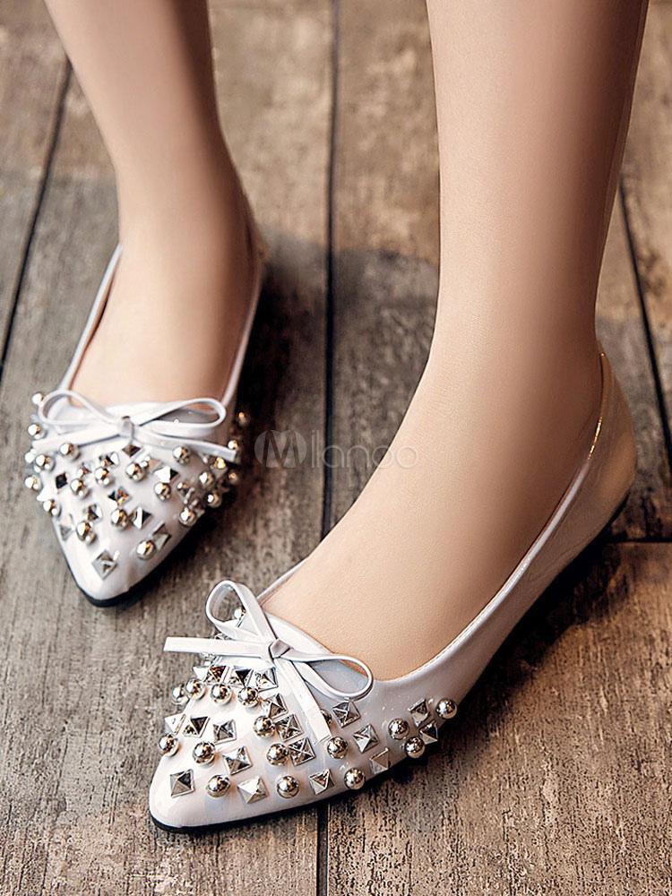 Zapatos planos de puntera puntiaguada slip-on Planos para mujer para ocasión informal estilo moderno con lazo SQ7p8oHoe