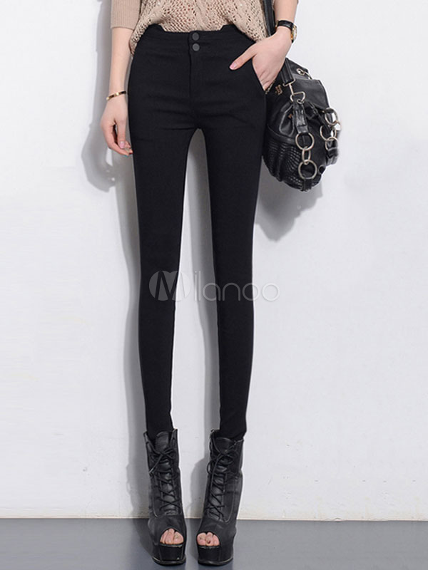 Buy Black Skinny Pants Chic High Waist Tight Pants For Women for $23.74 in Milanoo store