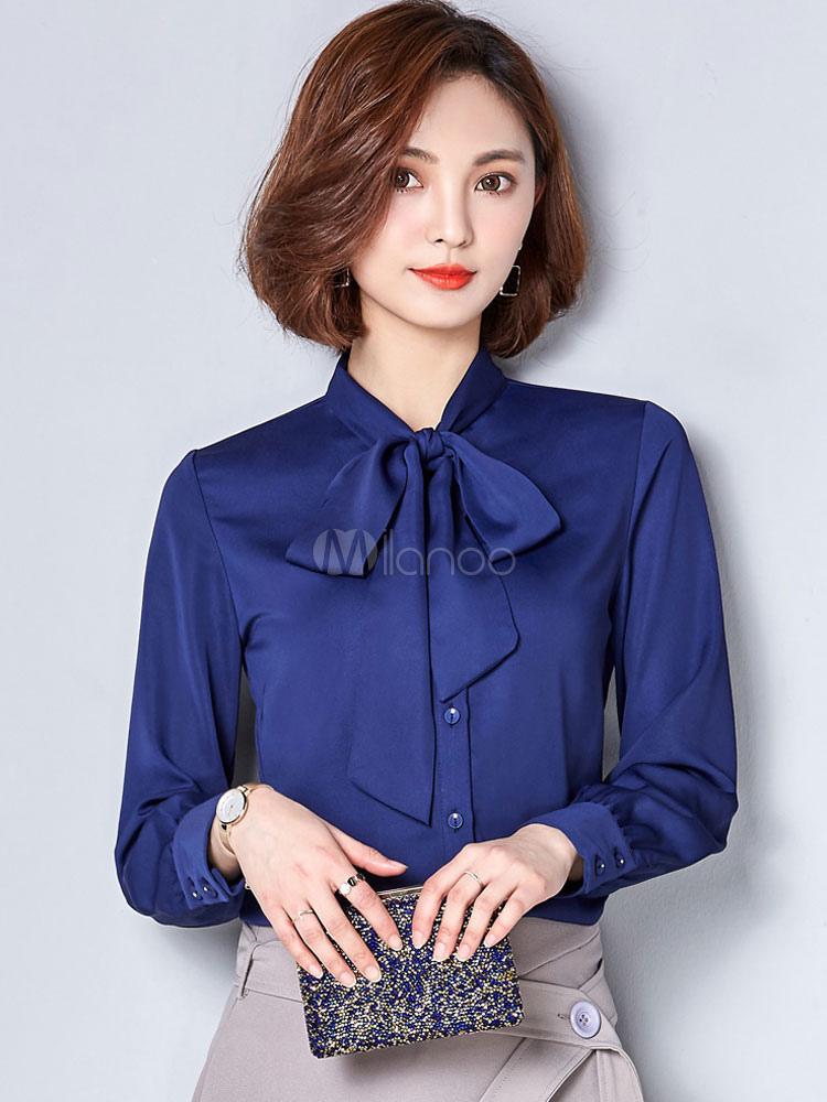 23a985af87 Blusa vermelha do chiffon embelezado colarinho manga longa Casual Top para  as mulheres-No.