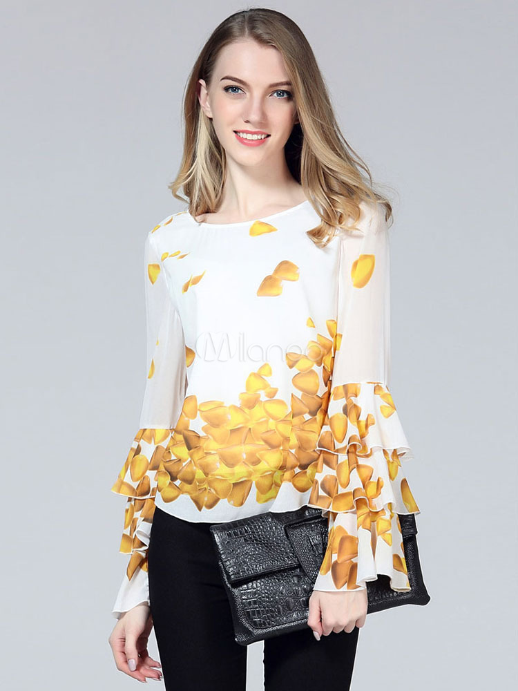 Women's Printed Blouse Flared Tiered Sleeve Top Cheap clothes, free shipping worldwide