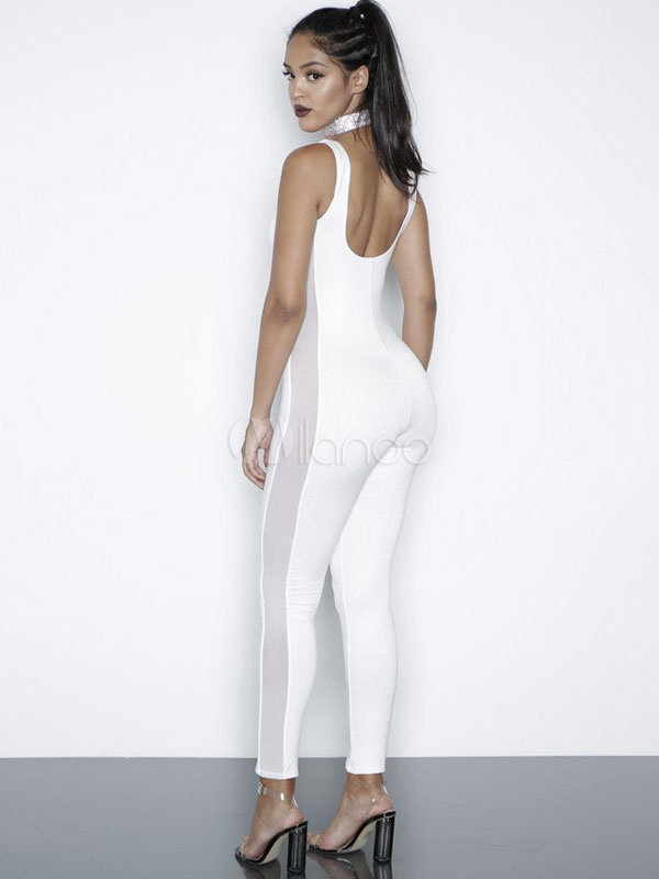 27020d1e82c2 ... Women s White Jumpsuit U Neck Sleeveless Patchwork Semi Sheer Skinny  Wrap ...