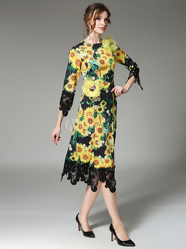 Buy Yellow Skater Dress Round Neck 3/4 Length Sleeve Floral Printed Flare Dress for $39.99 in Milanoo store