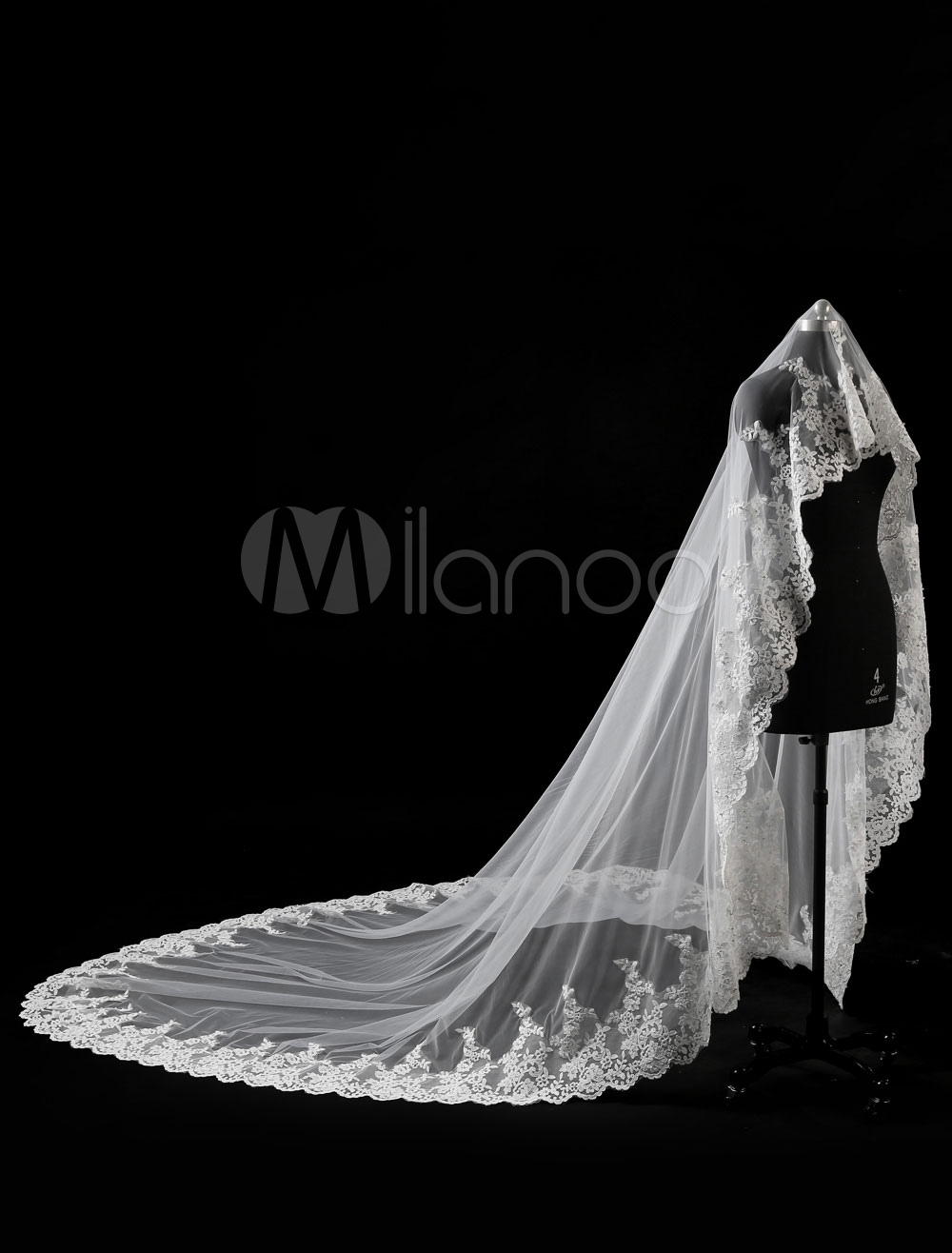 Buy Ivory Wedding Veil Cathedral Tulle Waterfall Lace Applique Edge Bridal Veil for $89.99 in Milanoo store