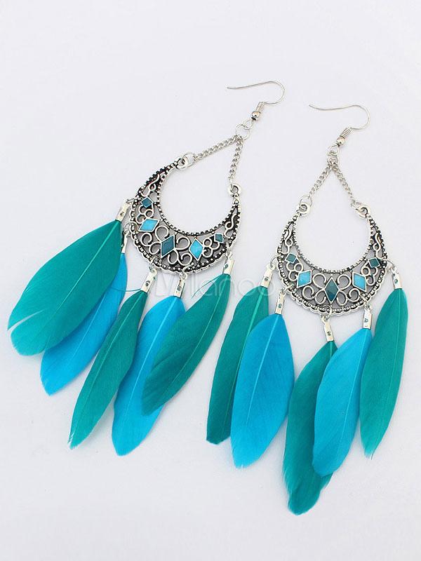 Boho Drop Earrings Green Pierced Feathers Detail Dangle Earrings