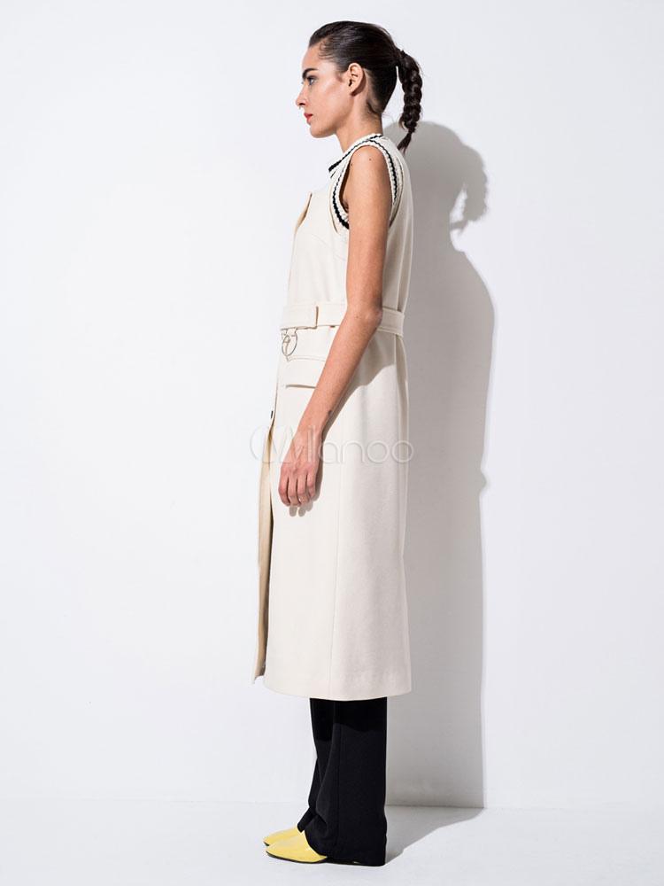 Blanche Manches Sans Femmes Ceinture Robe Avec Manteaux Gilet Long c3F1KJTl