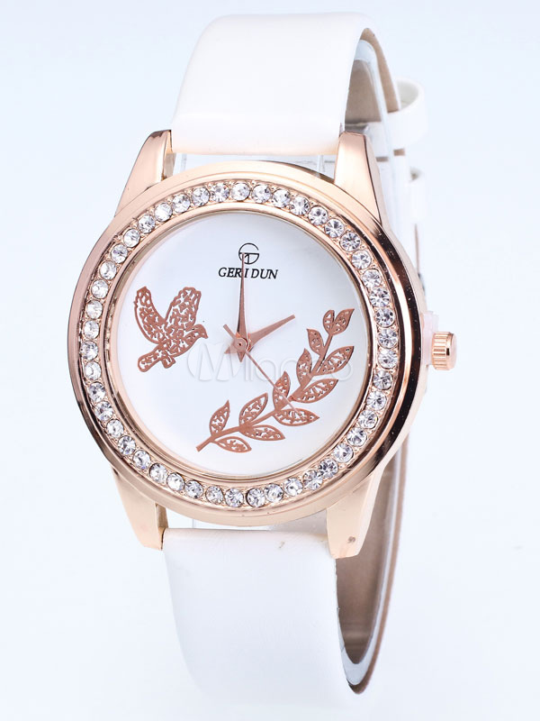 Buy Women's Wrist Watch Round Rhinestones Beaded Peace Dove Dial Leather Band Analog Quartz Watch for $6.79 in Milanoo store