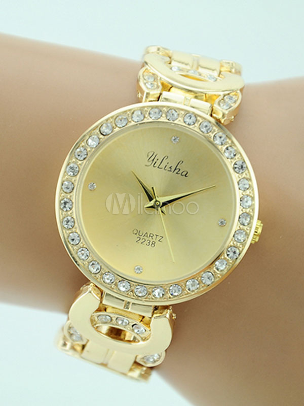 Buy Golden Quartz Watch Rhinestones Beaded Round Dial Metal Alloy Band Elegant Wrist Watch for $11.69 in Milanoo store
