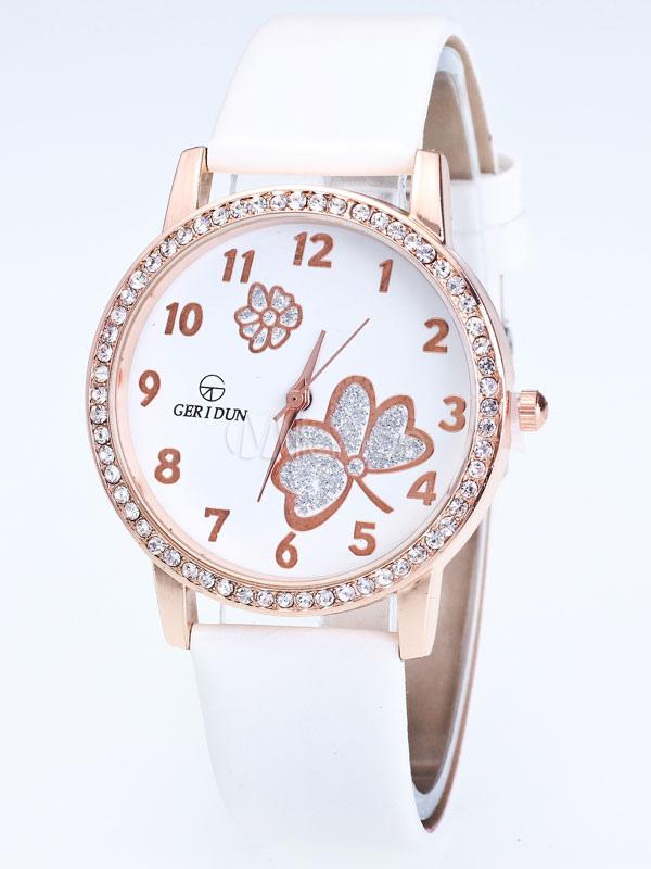 8f46e9bc24fb Reloj Redondo con pedrería De cuero estilo moderno para mujer -No.1 ...