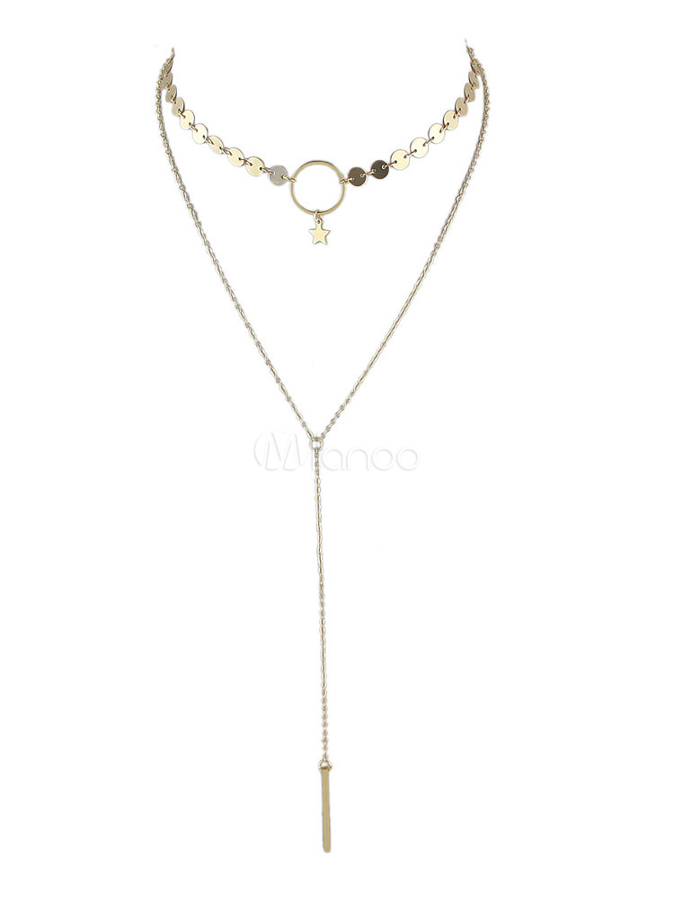 Buy Gold Choker Necklace Women's Alloy Star Shape Tiered Necklace for $2.69 in Milanoo store