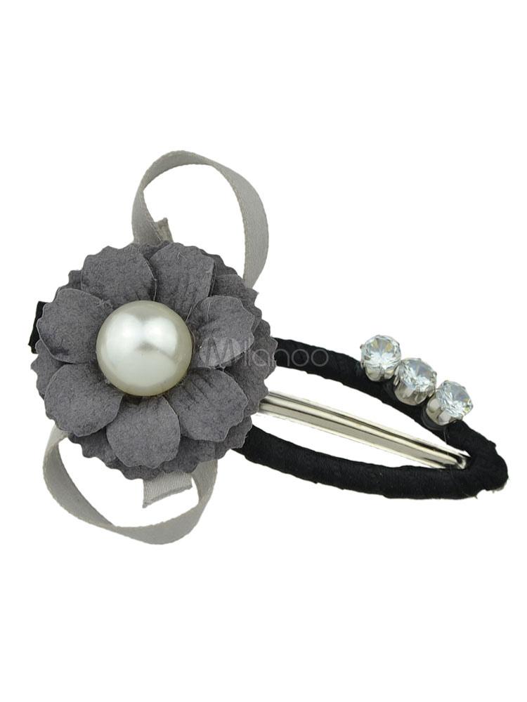 b4ab3a572a13b Flower Hair Clips Pearl Women s Grey Hair Accessories - Milanoo.com