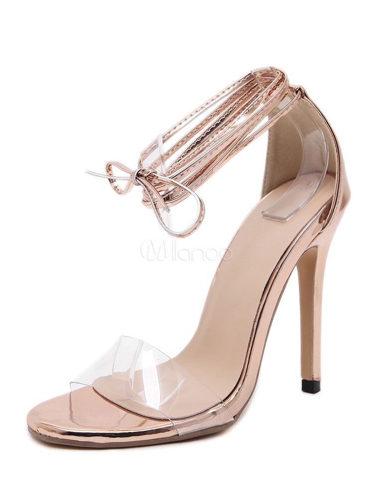 fdac707c18f Champagne Strappy Sandals High Heel Women s Open Toe Stiletto Lace Up  Sandal ...