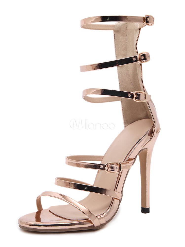 Buy Women's Gladiator Sandals High Heel Gold Open Toe Zip Up Stiletto Strappy Sandal Shoes for $33.24 in Milanoo store