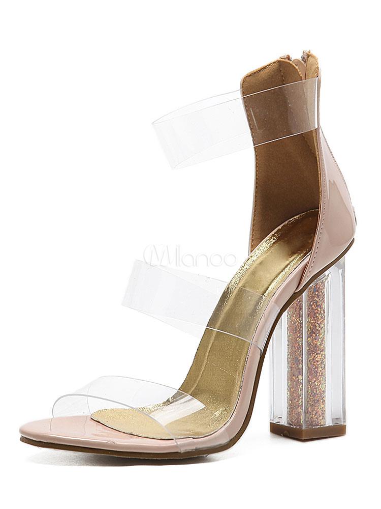 91031b025 Salto alto sandálias Damasco curativo transparente preto salto sandália  sapatos para mulheres-No.1 ...