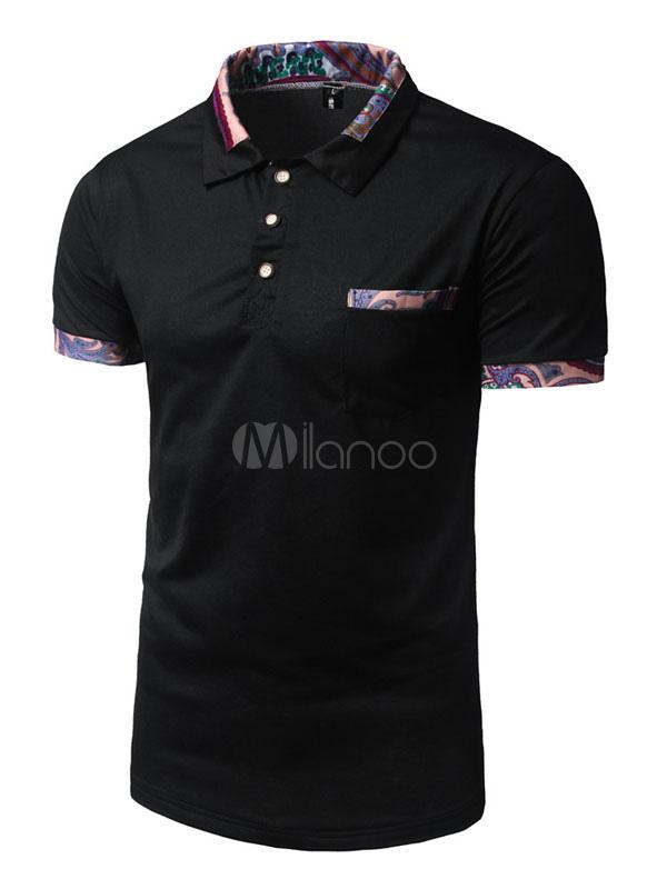 Buy Black Polo Shirt Short Sleeve Turndown Collar Regular Fit Cotton Shirt For Men for $16.99 in Milanoo store