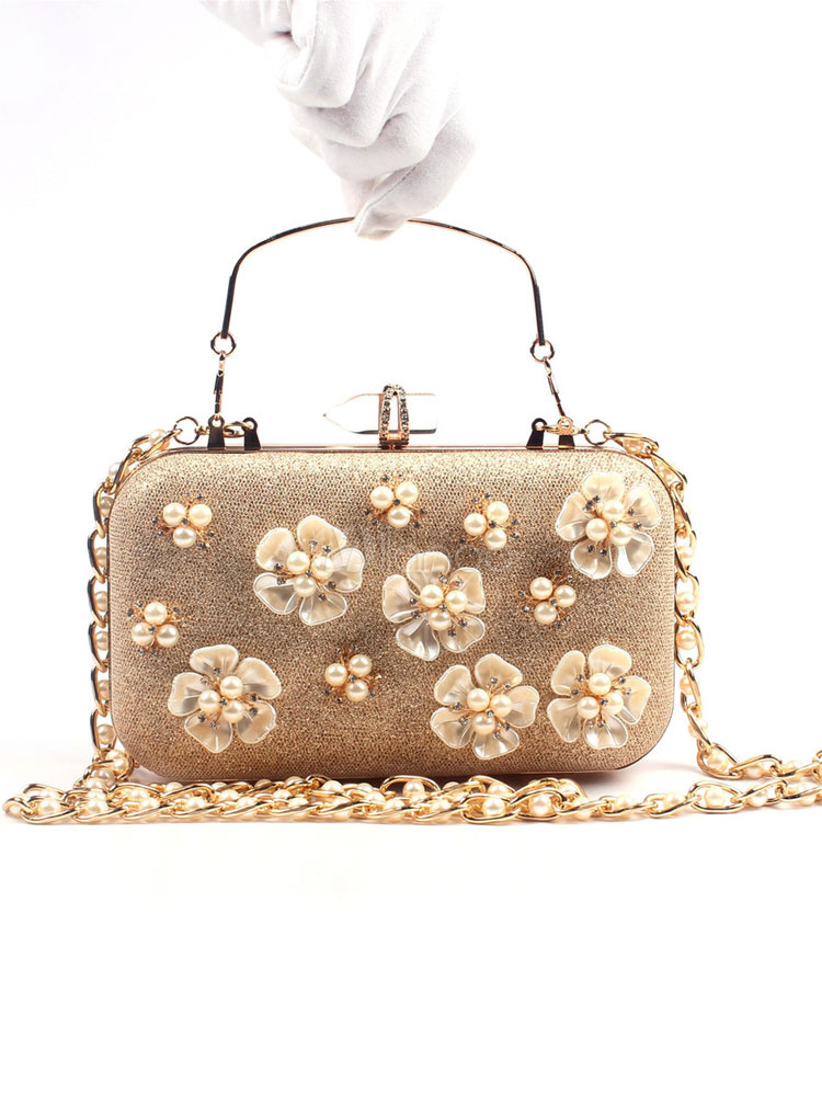 Buy Gold Wedding Handbags Pearl Flower Glitter Rhinestone Mini Evening Clutch Bag for $39.99 in Milanoo store