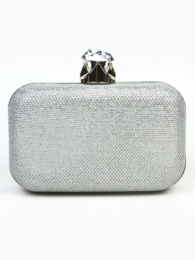 Buy Gold Clutch Bag Glitter Detachable Chain Kiss Lock Evening Handbags for $29.99 in Milanoo store