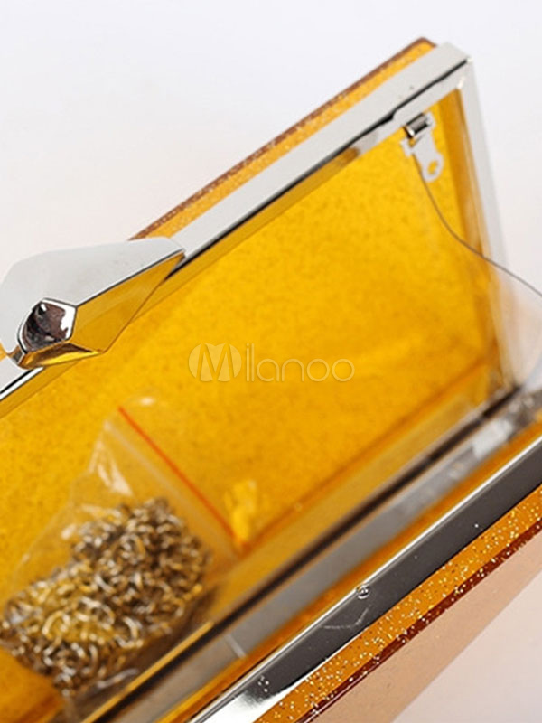 Buy Glitter Evening Clutch Bag Yellow Horizontal Wedding Handbags for $34.99 in Milanoo store