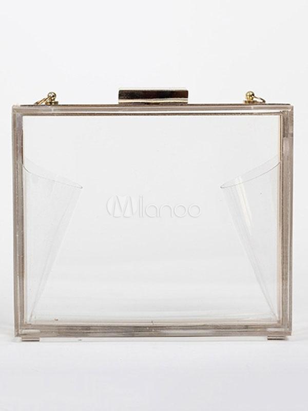 Clear Evening Handbags Transparent Box Wedding Clutch Bag