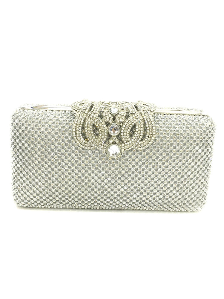 Buy Wedding Clutch Bag Silver Glitter Rhinestone Horizontal Evening Handbags for $39.99 in Milanoo store