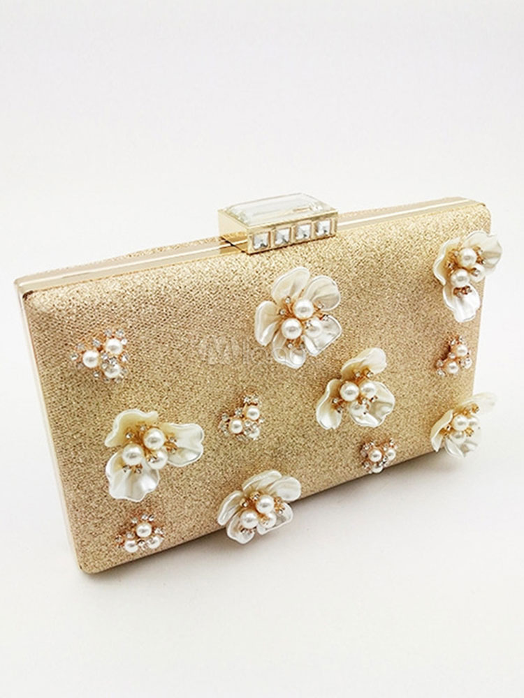 Glitter Wedding Handbags Gold 3D Flower Pearl Horizontal Evening Clutch Bag