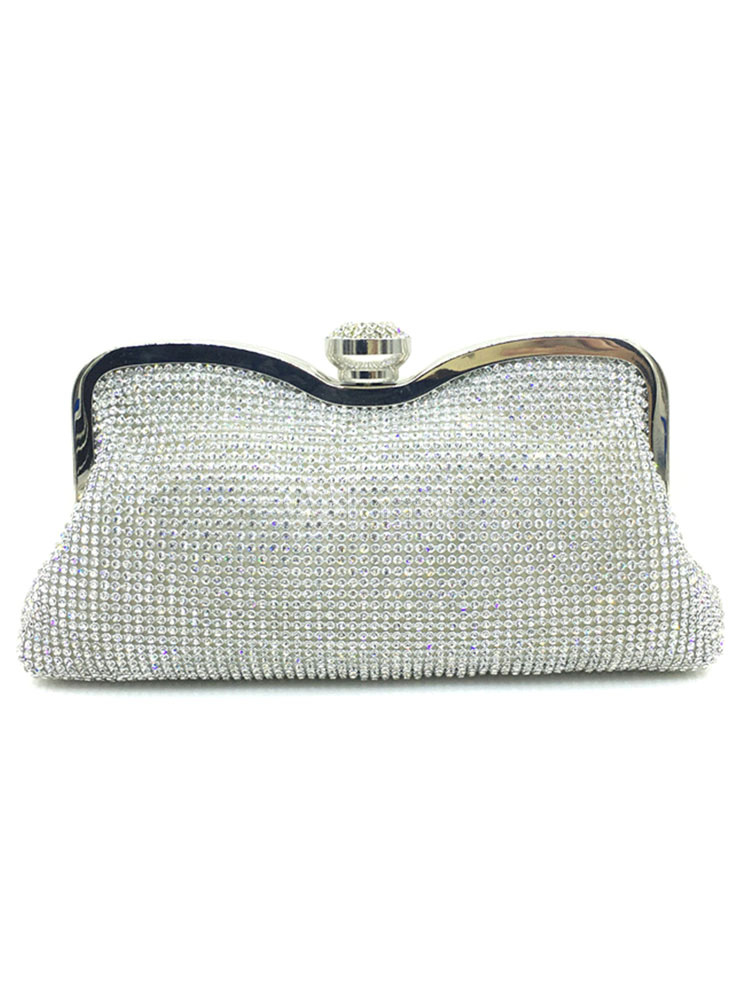 Silver Clutch Bags Glitter Wedding Handbags Rhinestone Evening Bags