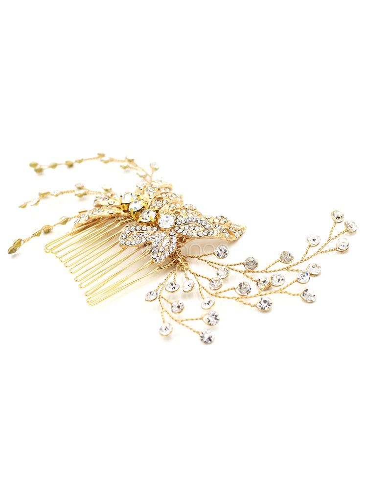 Buy Gold Wedding Headpieces Metal Leaves Rhinestone Bridal Hair Slides for $29.99 in Milanoo store