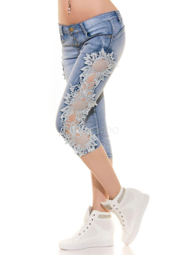 Buy Denim Cropped Pants Lace Patchwork Low Rise Wash Distressed Skinny Capri Jeans for $28.49 in Milanoo store