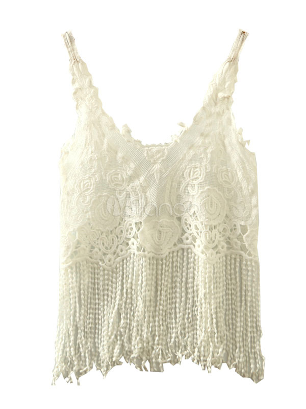 Buy White Crop Top Women's U Neck Spaghetti Strap Fringes Cut Out Crochet Patchwork Cami Top for $9.49 in Milanoo store