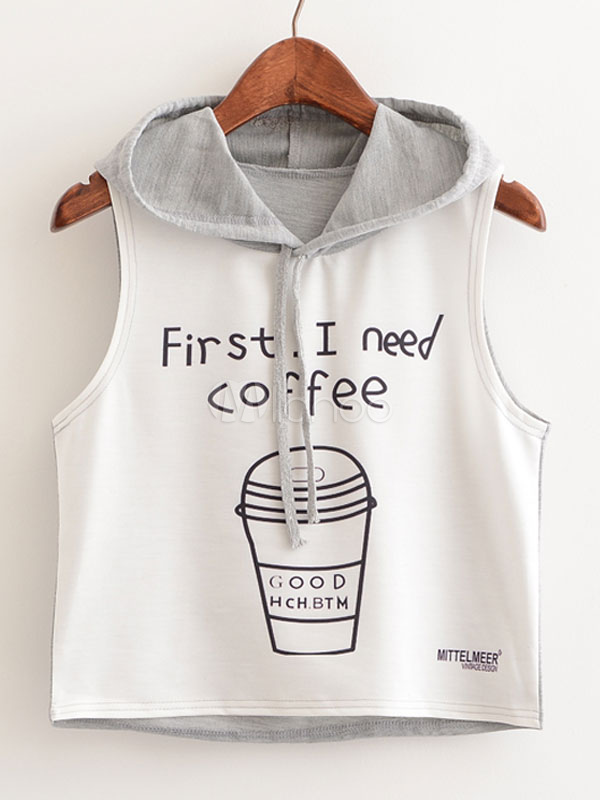 Sleeveless Hoodie T Shirts Grey Letters Printed Women's Summer Crop Tops