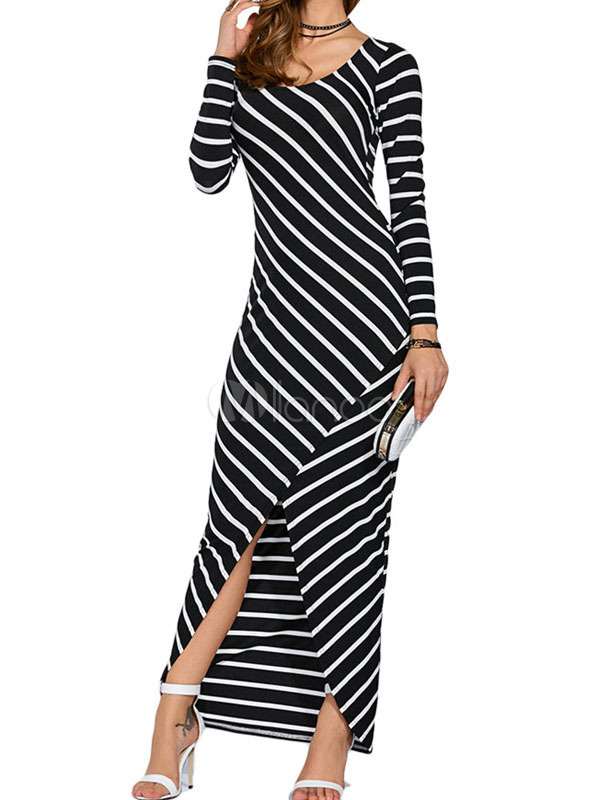 Black Maxi Dress Stripe Long Sleeve Slit Women's Long Dress