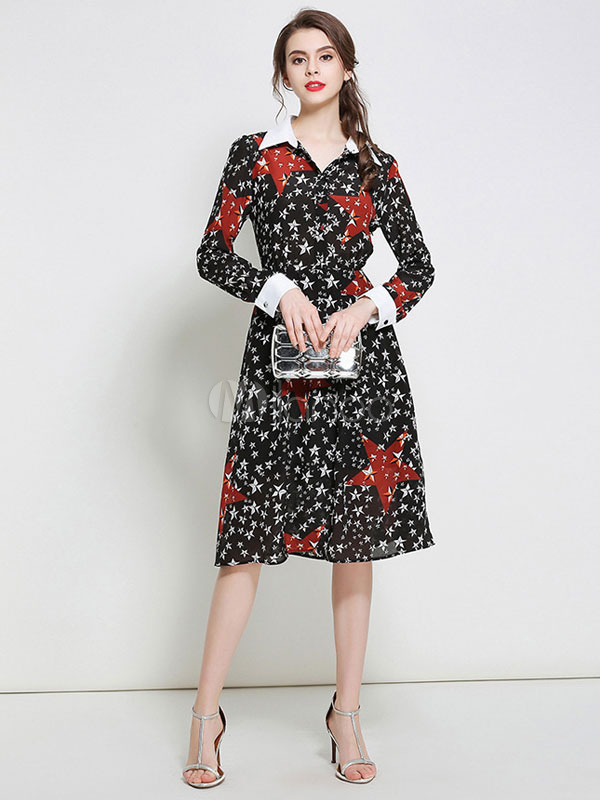 1bb14694f3c6 Chiffon Skater Dress Star Printed Women s Long Sleeve Shirt Dress ...