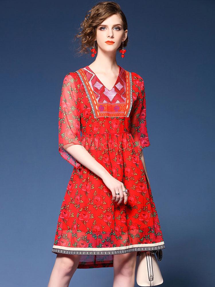 ea800cb13d2 Vestido de verano rojo de chifón con estampado con 1/2 manga para ocasión  informal ...