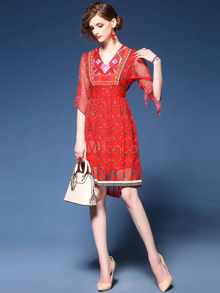 614134c50e1 ... Vestido de verano rojo de chifón con estampado con 1/2 manga para  ocasión informal ...