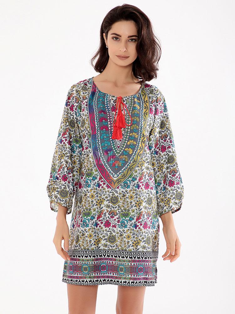 Buy Boho Shift Dress Green Round Neck 3/4 Length Sleeve Printed Short Dress for $18.99 in Milanoo store